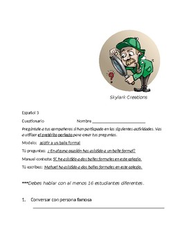 Spanish 3  Speaking Activity emphasizing Present Perfect
