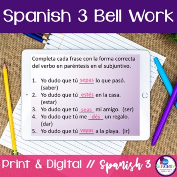 Spanish 3 Bell Work:  130