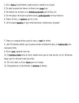 Spanish 3 or 4 - if clauses practice overheads