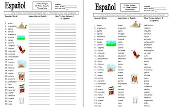 Spanish 30 False Cognates Translations and Image IDs Worksheet