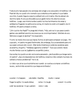 Spanish 3  Reading Comprehension  - Basta con este telefono !