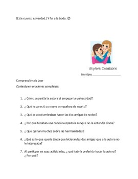 Spanish 4  Advanced Reading Comprehension or Final assessment