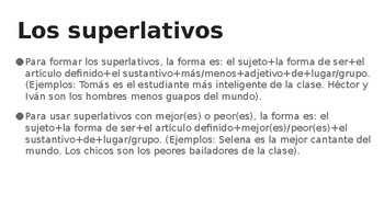 Spanish 4: Comparisons and Superlatives PowerPoint