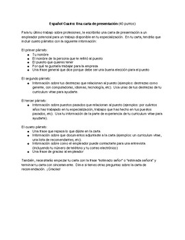 Spanish 4: Cover Letter Assignment