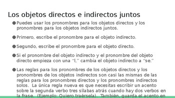 Spanish 4: Direct and Indirect Objects PowerPoint