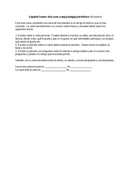 Spanish 4: PenPal Letter