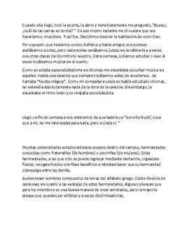 Spanish 4 Reading Comprehension  Amigas por Vida