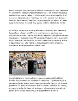 Spanish 4  Reading Comprehension Blog about studying in Madrid