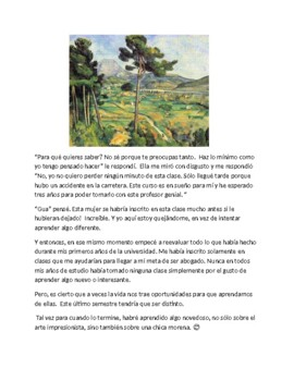 Spanish 4 Reading Comprehension story  - Studying Art History
