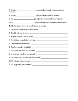 Spanish 4: Reflexive and Reciprocal Verbs Worksheets