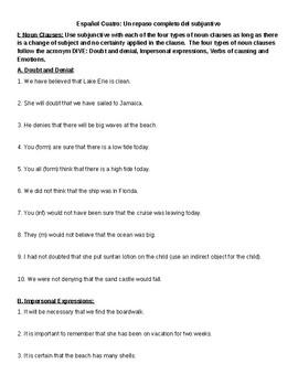 Spanish 4: Subjunctive Practice Sentences