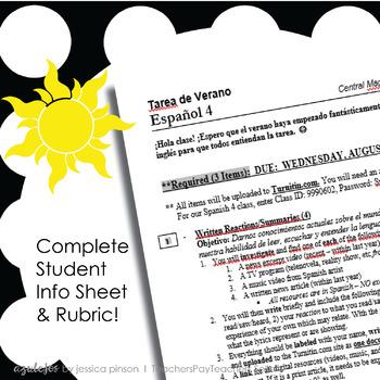 Spanish 4 Summer Work Assignment - Tarea de Verano