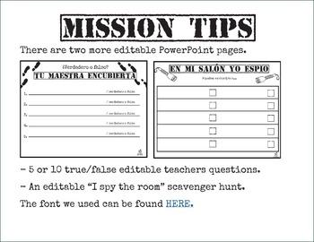 Spanish 4th Grade Beginning of the Year Activity Spy Theme, Editable