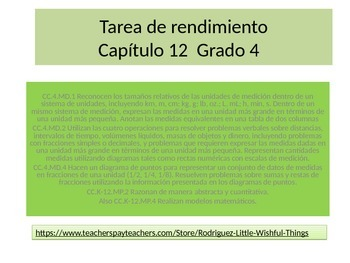 Spanish 4th grade Chapter 12  Math performance task