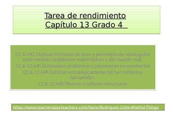 Spanish 4th grade Chapter 13  Math performance task