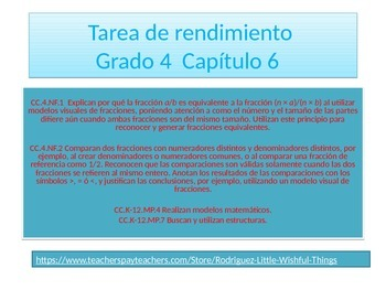 Spanish 4th grade Chapter 6- Math performance task