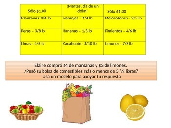 Spanish 4th grade Chapter 8-  Math performance task