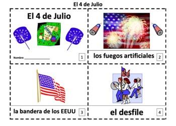 Spanish 4th of July El Cuarto de Julio 2 Booklets and Presentation