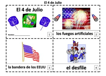 Spanish 4th of July El Cuarto de Julio 2 Booklets and Pres