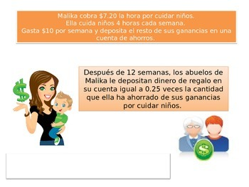 Spanish 5th grade Chapter 4 Math Performonce task
