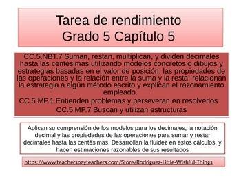 Spanish  5th grade Chapter 5  Math performance task