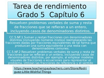 Spanish  5th grade Chapter 6  Math performance task