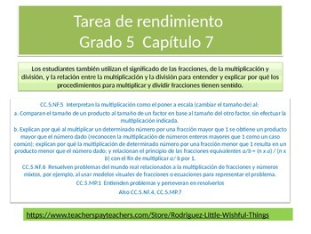 Spanish  5th grade Chapter 7  Math performance task