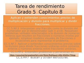 Spanish  5th grade Chapter 8  Math performance task