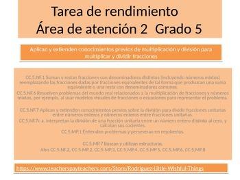 "Spanish  5th grade ""Critical area 2"" Math performance task"
