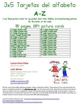 Spanish A-Z picture cards for pocket charts 181 pages