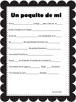 Spanish A little bit about me poster, worsheet, project