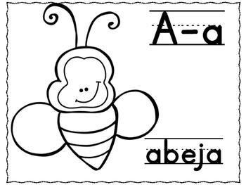 Spanish Abc Alphabet Black White Abecedario Para Colorear En Español
