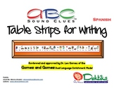 Spanish ABC Sound Clues Table Strips for Writing