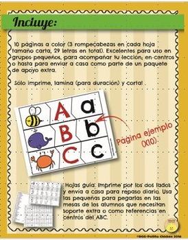 Spanish - ABC matching learning center. Centro de aprendizaje del ABC
