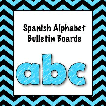 Spanish ABCs bulletin board with animals