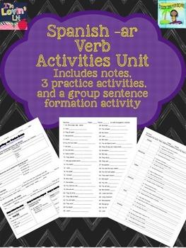 Spanish -AR AR Verb Conjugation Notes, Handouts, & Activities