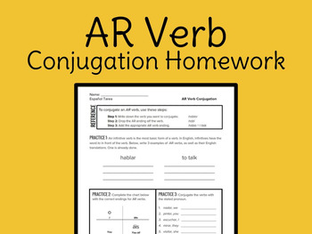 Spanish AR Conjugation Practice – Homework
