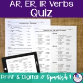 Spanish -AR, -ER, & -IR verbs Quiz