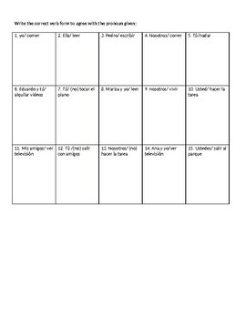 Spanish -AR, -ER and -IR Verbs Notes and Practice Worksheets
