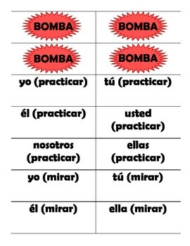 Spanish AR Verb Conjugation Game