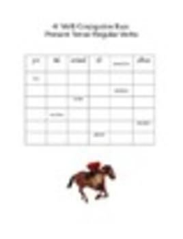 Spanish Verb Conjugation Race Worksheets Pack