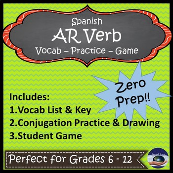 Spanish AR Verb Game and Practice
