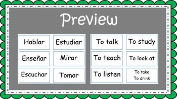 Spanish AR Verb Flashcards - Task Cards