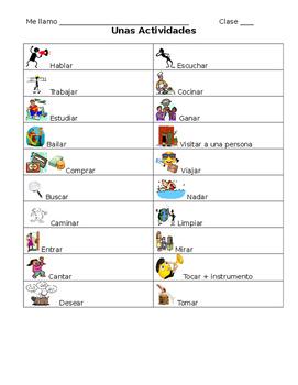 Spanish -AR Verb Vocabulary Notes