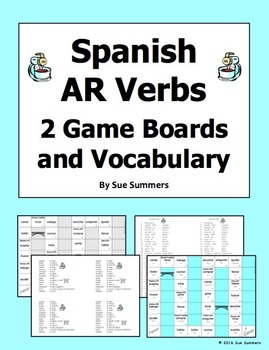 Spanish AR Verbs 2 Board Games and Vocabulary