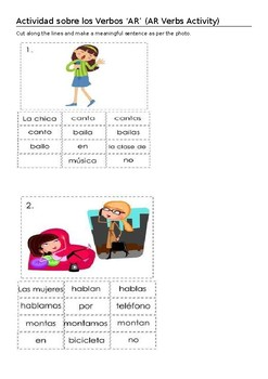 Spanish AR Verbs Activity