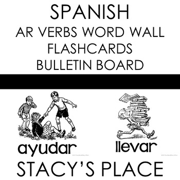 48 Spanish Present Tense AR Verbs Flashcards (BLACK AND WHITE)