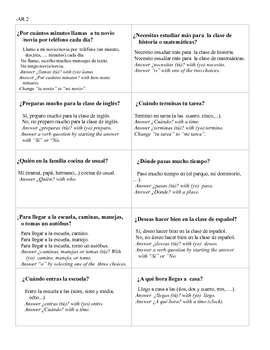 Spanish   AR Verbs Modified Speed Dating  Whole Class Speaking