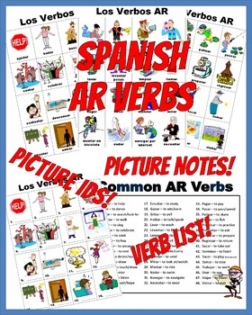 Spanish AR Verbs PICTURE Notes SET