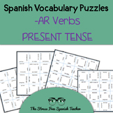 Spanish -AR Verbs, Present Tense Conjugation, Vocabulary Puzzles